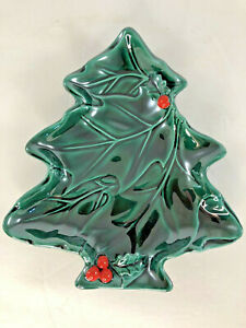 "Vintage Lefton Ceramic Holly Christmas Tree Serving Candy Dish ~ 8""x7"""