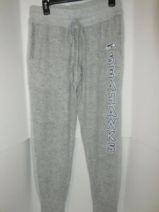 New Ladies Seattle Seahawks Grey Jogger Terry Cloth Knit Lounge Pants Medium NFL