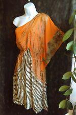 Bisou Bisou, Chiffon Animal print Blouse/top  Orange/shirt dress Size 8