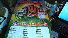 BUDWEISER NFL BENGALS FOOTBALL 1992 SCHEDULE WALL SIGN CARDBOARD