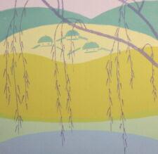Vintage landscape art print signed