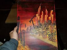 Original Oil Painting New York Red Twin Tower Bridge Empire State Building 18x14