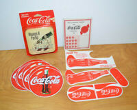 Vintage COCA COLA Collectibles Lot Coasters Decals Punch Card Advertising