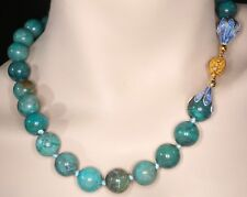 Large Chinese Chrysocolla Necklace With Enameled Beadcaps Gilded Sterling Clasp
