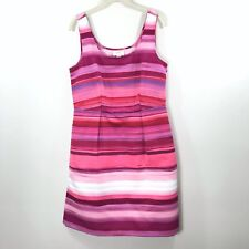 Ann Taylor LOFT Dress Sleeveless Pink Striped Watercolor Pockets Size 10