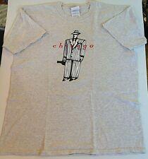Vintage Man in Pinstripe Suit Violin Case Chicago Gildan L Cotton T-Shirt Grey