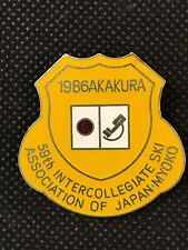 Vintage Metal Pin Badge - 1986 59th Intercollegiate Ski Association Japan Myoko