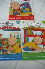 SET OF 3 CAILLOU MINATURE WORKBOOKS ( PRESCHOOL ) COUNTING , THINKING ,ALPHABET