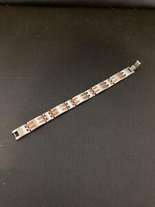 """Sabona Stainless Steel Copper Bar Magnetic Link Bracelet Size Large 7.5"""""""