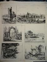 L. BRETON (XIX) 6 EAUX FORTES ORIGINALES PAYSAGE PARIS IMPRESSIONNISME 1873