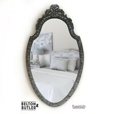 Multi Toned Grey Hand Painted Fleur De Lis Carved Mirror With Silver And Black