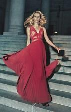 $ 498 BCBG MaxAzria Evonne Lace-Blocked Pleated Gown  SZ  0