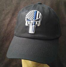Punisher Blue line SWAT Baseball Cap Solid Black Cotton U.S.A. flag hat