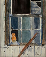 "Original Watercolor ""Cat in the Window"" by Artist"