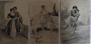 * Série de 3 cartes postales fantaisie - Les amoureux célèbres