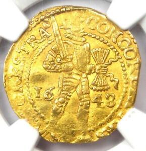 1648 Netherlands Utrecht Gold Provincial Ducat Coin 1D - Certified NGC AU50