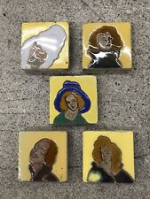Antique Spanish Tiles-Set of 5 Women Spain