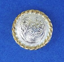 """Western Equestrian Bright Silver Flower Gold Rope 3/4"""" Concho"""