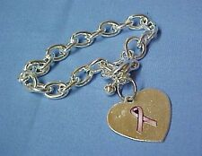 Heart Pink Ribbon Bracelet Charm Toggle Silver Plated Breast Cancer Awareness