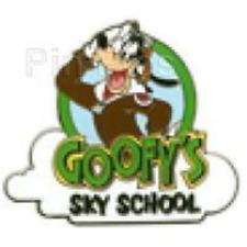Disney Pin 83358 Dlr Dca Sky School Mystery Goofy Saluting Salute Logo Le 200