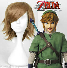 The Legend of Zelda Link Cosplay wig man brown short Straight hair full wigs*