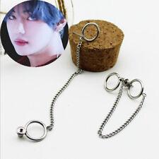 2PC KPOP BTS V Earrings Bangtan Boys V Stud Double Ring Chain Earrings Vintage