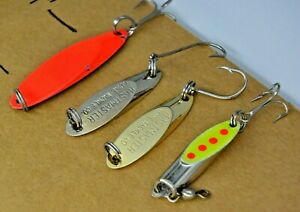 """Four Older 1-5/16"""" to 1-3/4"""" Acme KASTMASTER Fishing Lures"""