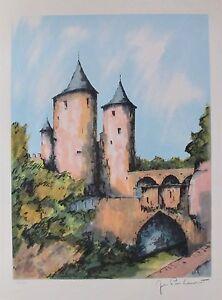 """JEAN PIERRE LAURENT """"Bridge Castle"""" Hand Signed L/E Lithograph FRANCE French Art"""