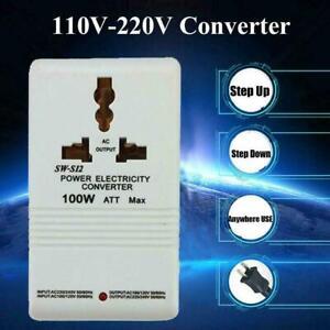 110V to 220V Step-Up & Down Voltage Converter 100W Transformer Travel Watt C9A3