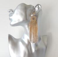 Gorgeous 12.5cm long gold tone chain tassel drop earrings, Big & glam! * NEW #16