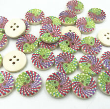 25pcs Multicolor Wooden Buttons Fit Sewing Scrapbooking Handicrafts 4 Holes 18mm