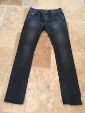 Vintage Superdry Mens Distressed Black Skinny Button Fly Jeans Sz 32x34