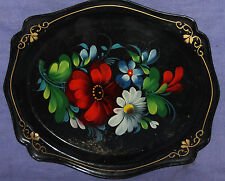 Vintage Soviet Russian hand painted floral flowers tole serving tray
