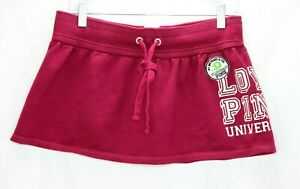 Victoria Secret PINK Skirt Size Small Fleece Burgandy Drawstrings