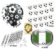 Fußball Dekoset Geburtstag Girlande Luftballons Kerzen Einladungskarten für 8