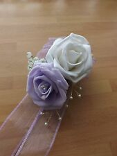 Wedding flowers bridesmaids wrist corsage lilac and white roses,diamante pearls