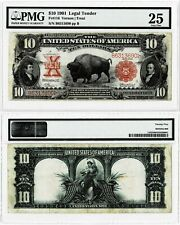 1901 $10 Legal Tender Bison Note -  - Fr#116 - Large Size Note~~PMG VF25