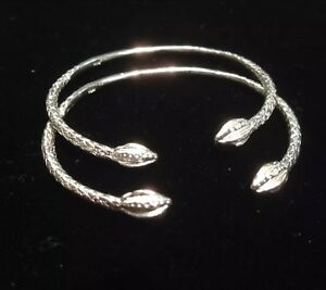 Pair Of Pine Head Handmade West Indian Sterling Silver Bangles - Baby Size