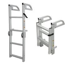 4-Step Folding Alum Boat Boarding Ladder w/ Handles for Pontoon, Runabout