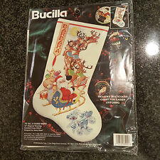 BUCILLA To All A Good Night Santa Christmas Counted Cross Stitch Stocking Kit