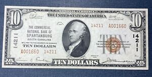 1929 $10 Commercial National Bank of Spartanburg Note #14211