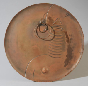 Francisco Rebaje's Mid-Century Modern African Face Copper Wall Plaque  C.1945