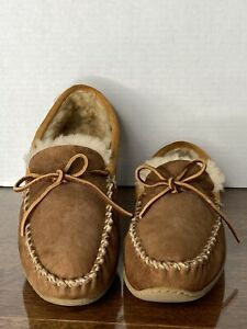 LL BEAN Men's Suede Shearling Lined Wicked Good Moccasin Slippers 12 CLEANED!