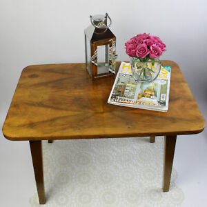 Quirky Vintage Folding Table with Walnut Veneer. Solid Piece with Sturdy Legs.