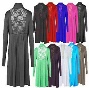 Ladies Womens Back Floral Lace Stretch Pleat Top Open Front Long Sleeve Cardigan