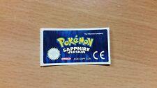Gameboy Advance Pokemon Sapphire Replacement Label Sticker Nintendo Cartridge