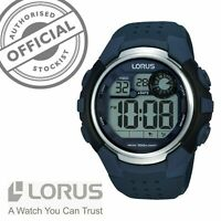 Lorus Alarm Chronograph Blue Rubber Strap Digital Mens Watch R2387KX9 RRP £34.99