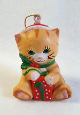 Vintage Cat Ornament Green Eyes Santa Hat 1985 Hard Plastic 2.5""
