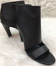 Vince Womens Sansa Black Embossed Leather Bootie Open Toe Ankle Boot Sz 7.5