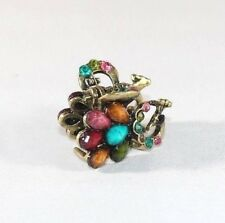 Brand New Vintage Peacock Hair Clip Claw w/Red Brown Green Yellow Pink Crystals